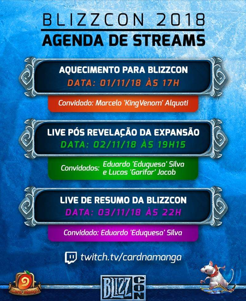 Agenda de Lives do Card na Manga na Blizzcon