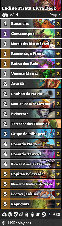 Ladino Pirata Livre - Deck de Hearthstone
