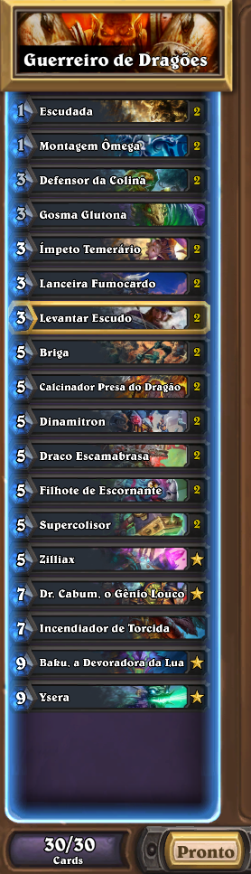 Lista de Guerreiro de Dragões de  Ringue do Rastakhan