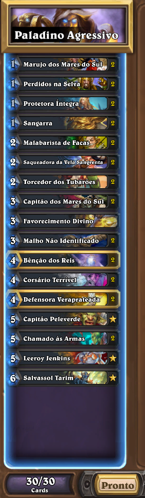 Lista de Paladino Agressivo de Ringue do Rastakhan