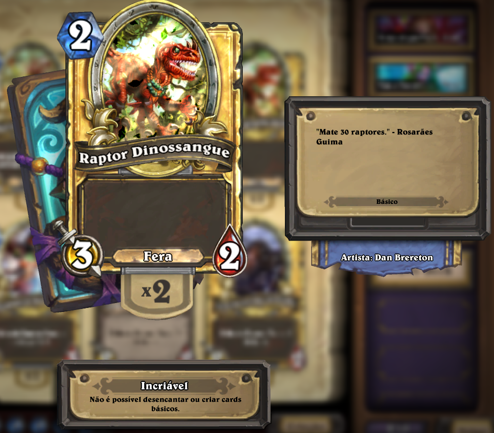 Flavor Text do Raptor Dinossangue