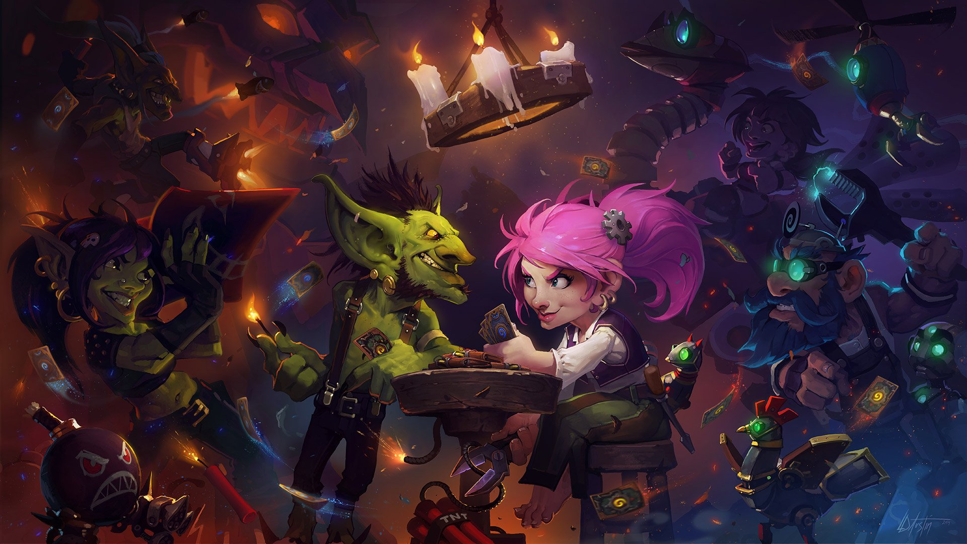 Goblins vs Gnomos KeyArt Oficial - Wallpaper Papel de Parede - Hearthstone
