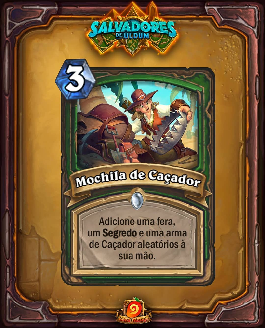 Mochila de Caçador - Card Reveal de Hearthstone Salvadores de Uldum - Hunter's Pack