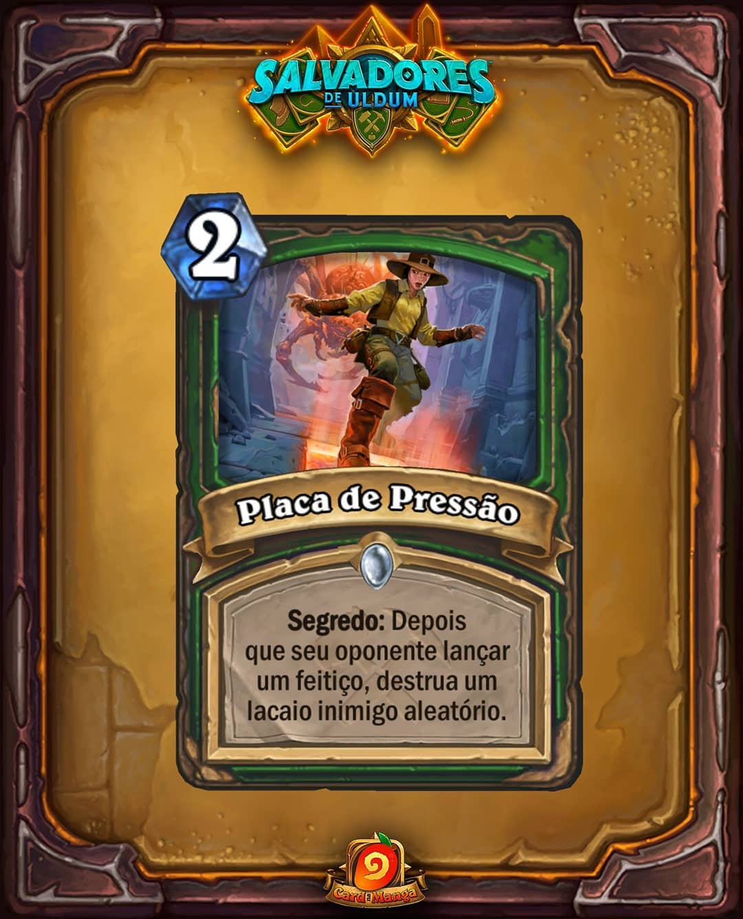Placa de Pressão Card Reveal - Caçador - Hearthstone Saviors of Uldum