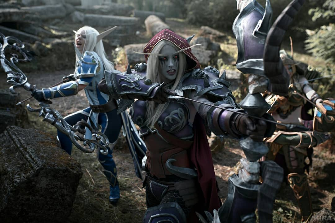 Cosplays de World of Warcraft - Vereesa, Sylvanas e Alleria Correventos - 01