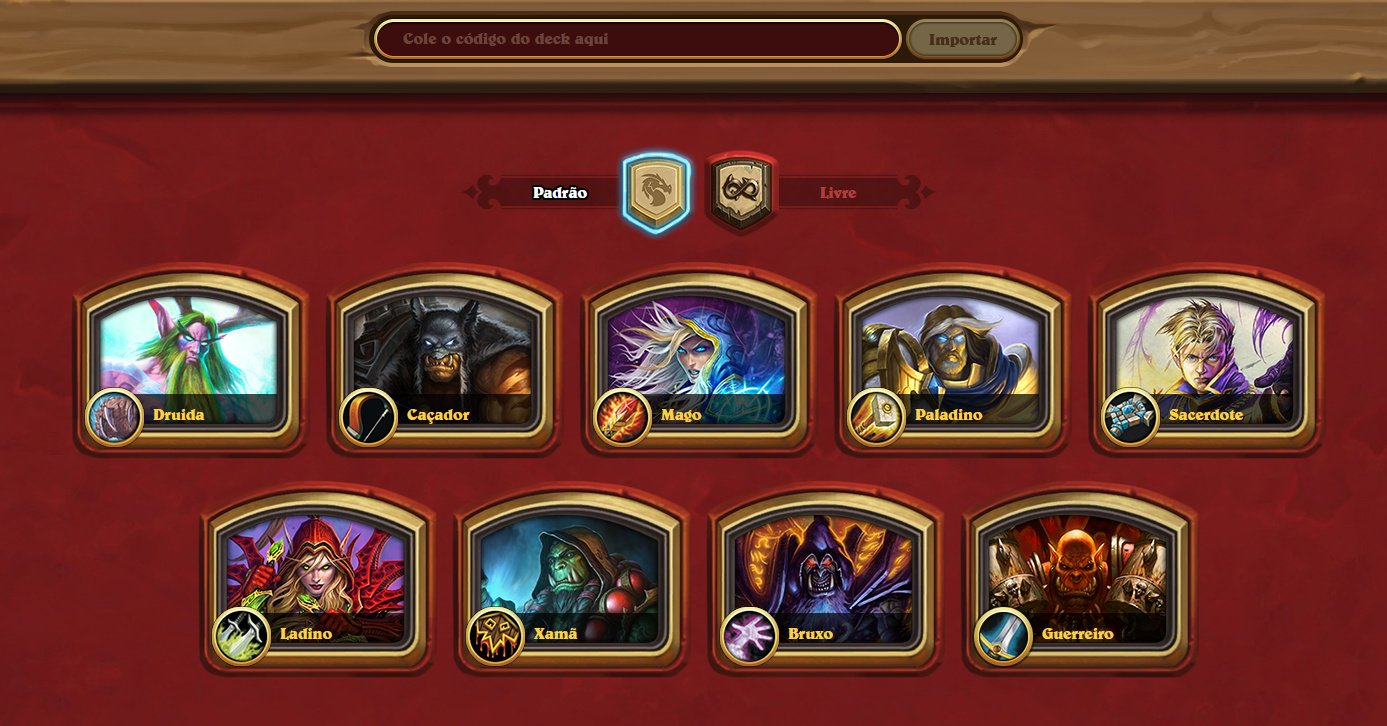 Deck Builder Oficial - Escolha de Classes
