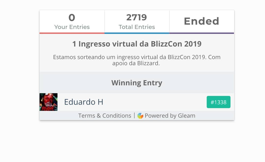 Ganhador do ticket virtual da BLizzcon 2019