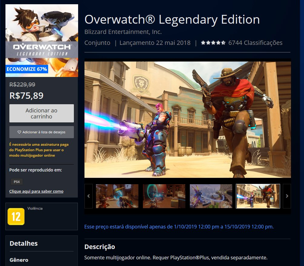 Overwatch Legendary Edition na PSN Store