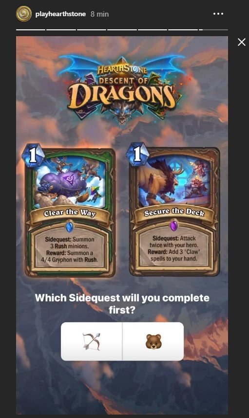 Revelação de card no stories de playhearthstone