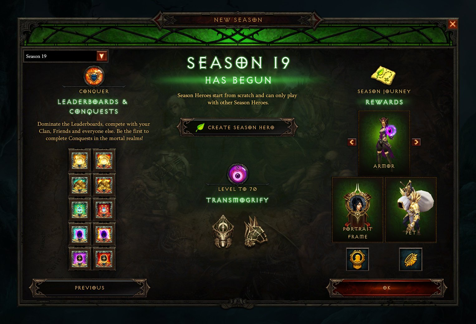 Temporada 19 Recompensas Diablo III