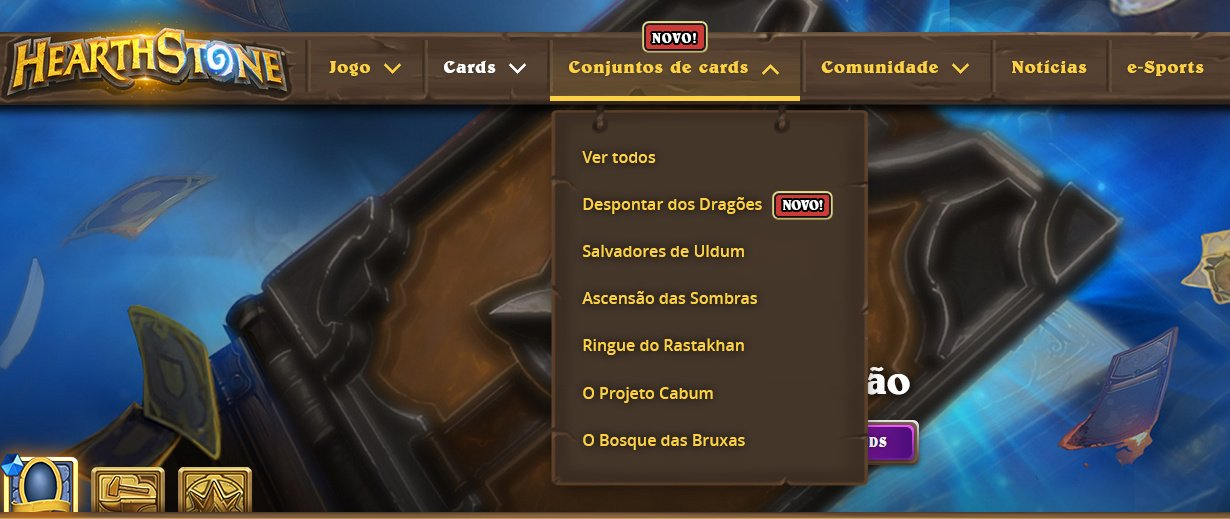 Menu do site oficial de Hearthstone