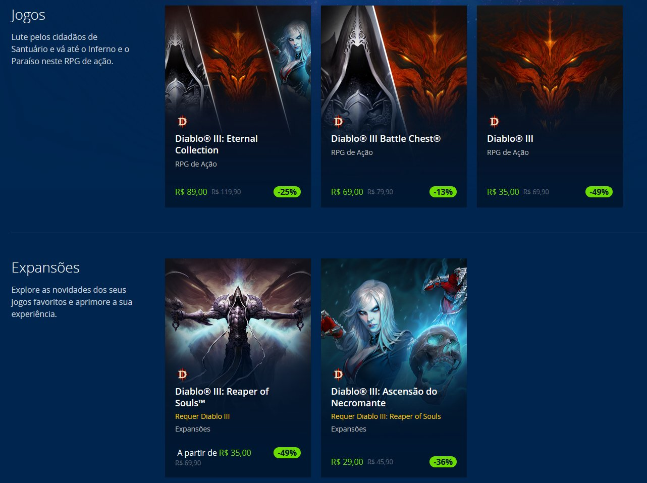Ofertas do Diablo III na Blizzard Shop